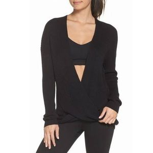 Zella black ribbed twist front sweater